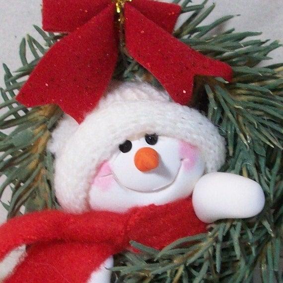 Mini Snowman ornament in a wreath