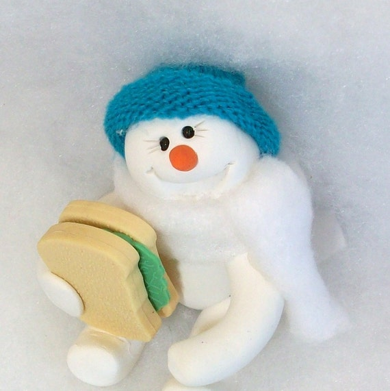 Clearance It is lunch time. snowman ornament