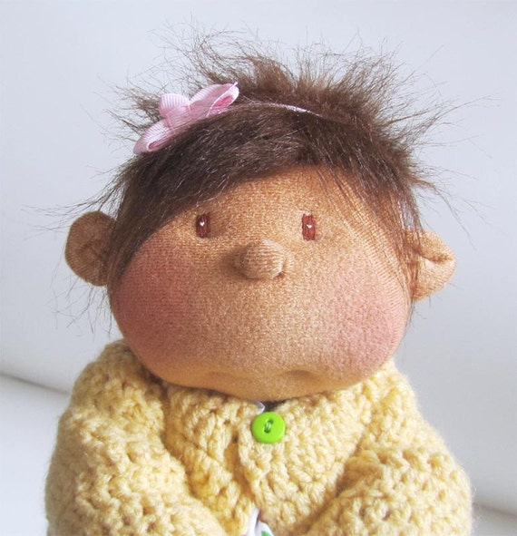 14 in soft doll honey skin Hispanic African American girl yellow sweater owl print dress