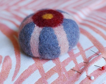 Felted Pincushion . Natural Grey with Pink and Red