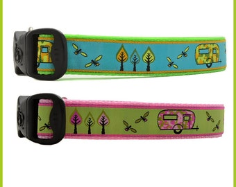 Camper Trailer Camping Dog Collars With Lightning Bugs & Funky Trees