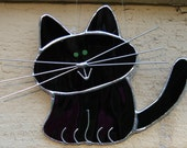 Stained Glass Black Cat