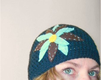 Crochet Hat - Snug Beanie in Navy Blue with Baby Blue and Brown Felt Flower - Cozy Crochet Hat for Baby / Toddler / Boy / Girl / Man / Woman