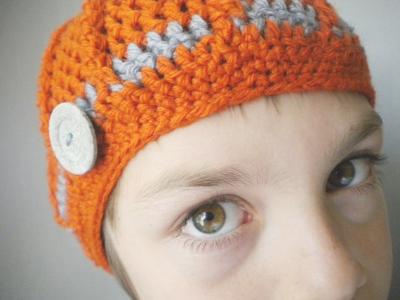 Crochet Hat - Ribbed Beanie in Persimmon Orange and Steely Gray with Recycled Buttons for Baby / Toddler / Boy / Girl / Man / Woman