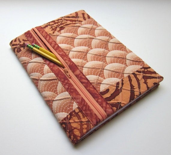 Blank Book Fabric Journal Cover / Lined Notebook - Peaches and Cream