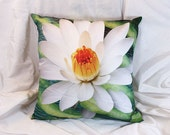 "Lotus Throw Pillow - 18"" green and white yoga art lotus blossom pillow case with ""Liquid Bloom"" artwork"