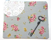 Pouch Skeleton Key and Lace on Blue Floral Linen