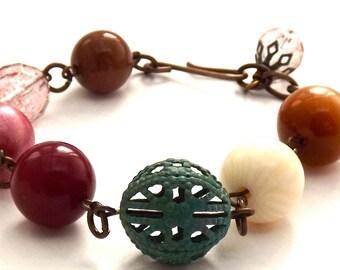 Vintage Lucite Czech Glass And Verdigris Filigree Brass Bracelet