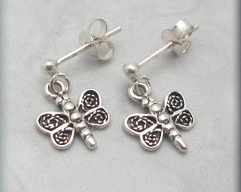 Tiny Dragonfly Earrings, Post Studs Sterling Silver Change (SE977)