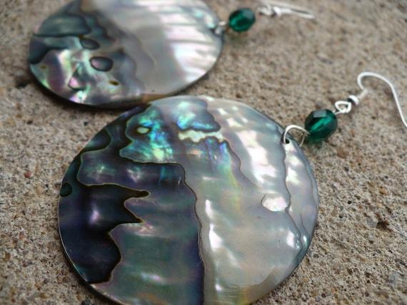 Abalone shell green glass bead earrings