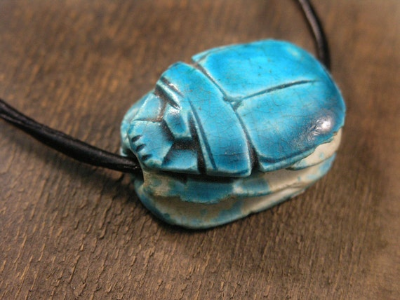 Vintage Turquoise Egyptian Scarab Beetle Necklace On By