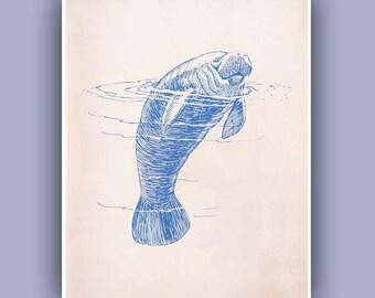 Manatee Print,  blue 10x8 print, Sea creature Wall Decor, Nautical art,  Seashore art  Print, Coastal Living
