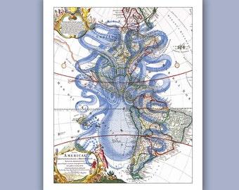 Octopus Print 2 in blue on old map of America,  Marine Wall Decor,  Nautical art, Coastal Decor