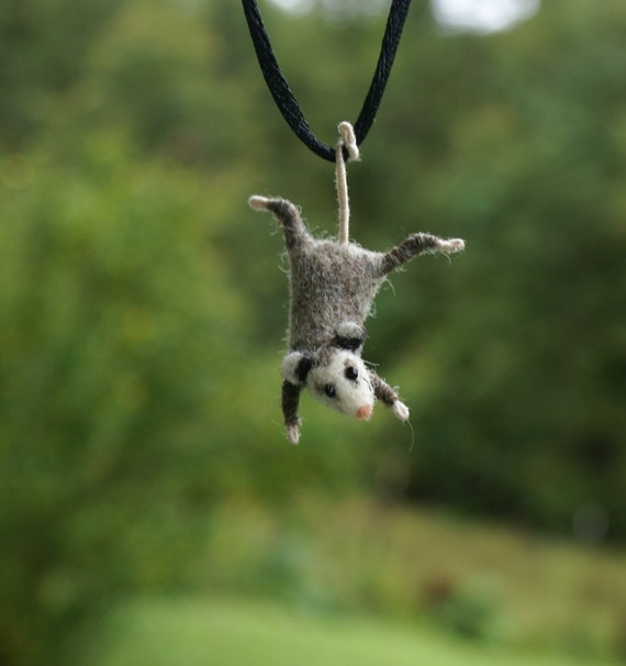 Tiny Possum Necklace - needle felted