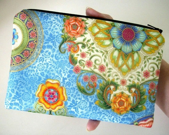 50% OFF SALE Unique Zipper Pouch Coin Purse Gadget Case Eco Friendly Padded OOAK  Blue Flower Mosaic