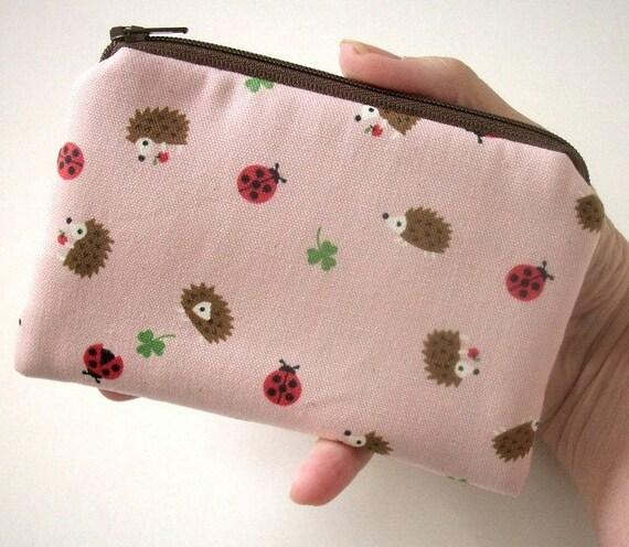 Pink Hedgehog Coin Purse Zipper pouch Gadget Case Eco Friendly Padded Linen Japanese Import NEW