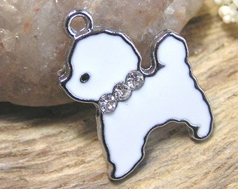 Bichon Frise Enamel Dog Charm available with Lobster Claw Bail or European Bail - 1 piece