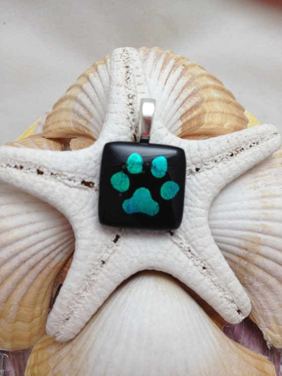 Turqoise Teal and Black Dichroic Paw Print Fused Glass Pendant Necklace Jewelry B1 P2