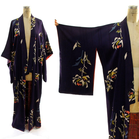 Hand Painted Silk Kimono with Abstract Leaf Pattern