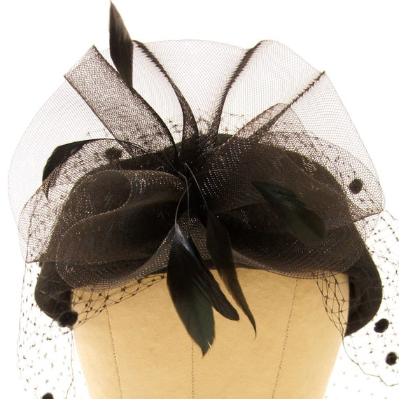 80s Church Hat & Veil / Fancy Pillbox Hat with Feathers in Black