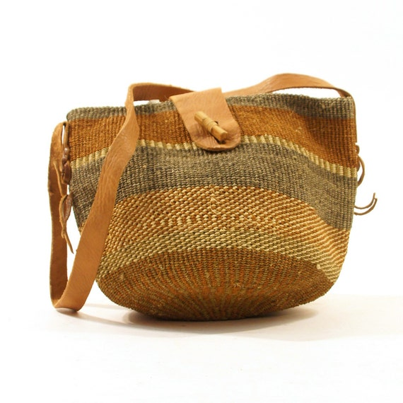 80s Woven Sisal Market Tote / Natural, Sage, & Terracotta