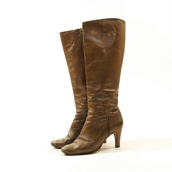 80s bruno magli distressed knee high leather boots by