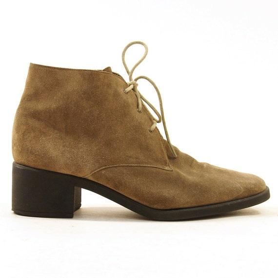 90s desert boots khaki suede chunky heel