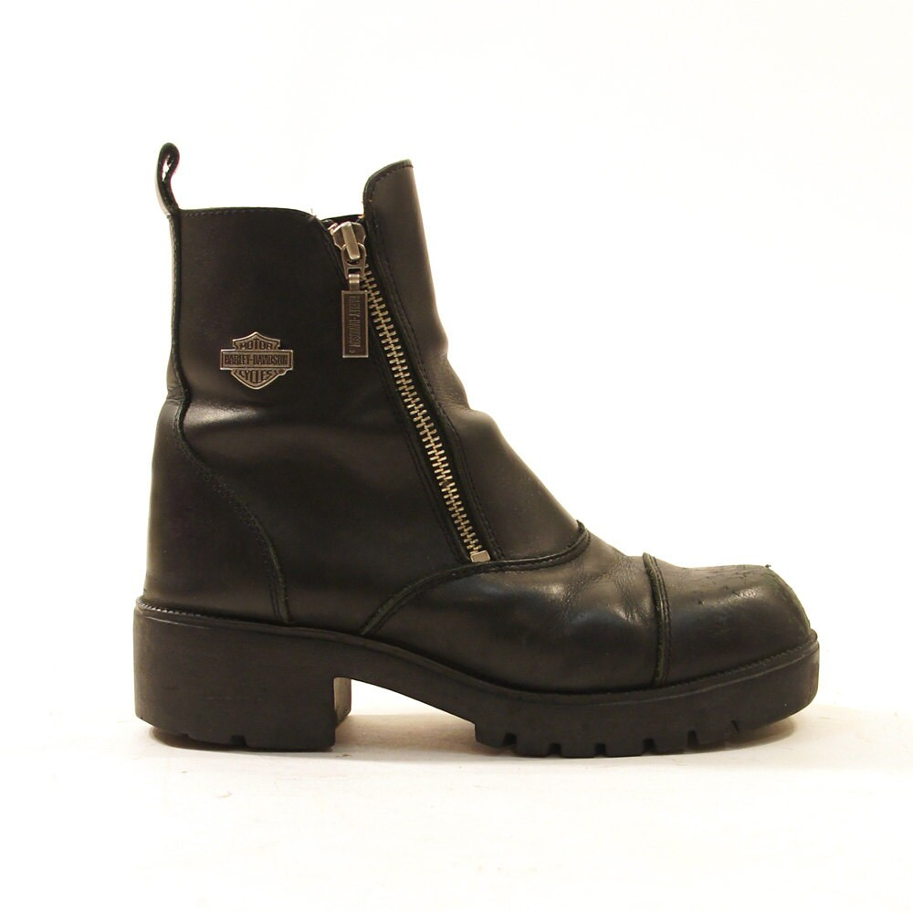 90s harley davidson ankle boots black leather by