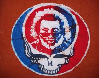 Jerry Garcia Grateful Dead Batik Steal your Face Handmade T-shirt