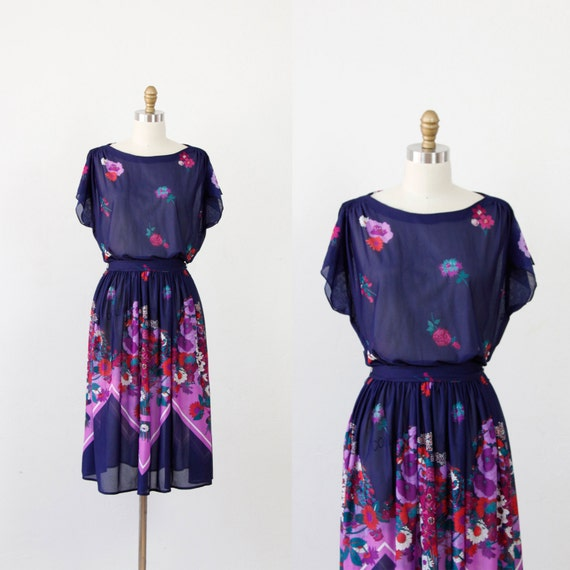 Navy with Violet and Fushia Floral Design Dress