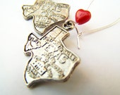 I Love Texas Earrings - State of Texas Map Earrings - Texas - Vintage TX Charms & Red Czech Glass Heart Beads - Lone Star Map Love Jewelry