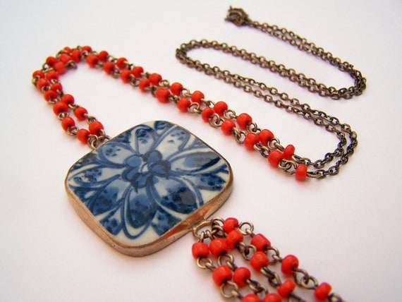 Long Bohemian Necklace - Pottery Shard Necklace - Blue Ming Shard & Red Glass Beads with Tassel - One of a Kind - Porcelain Pendant