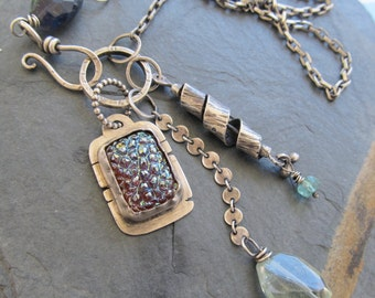 Long Charm Cluster Necklace Sterling Silver Boho Blue Plum trinket gemstone Necklace