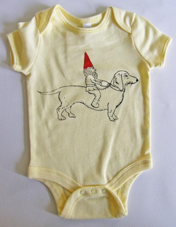 Dachshund & Gnome Short Sleeved Cotton Onesie-Yellow 18-24Mo