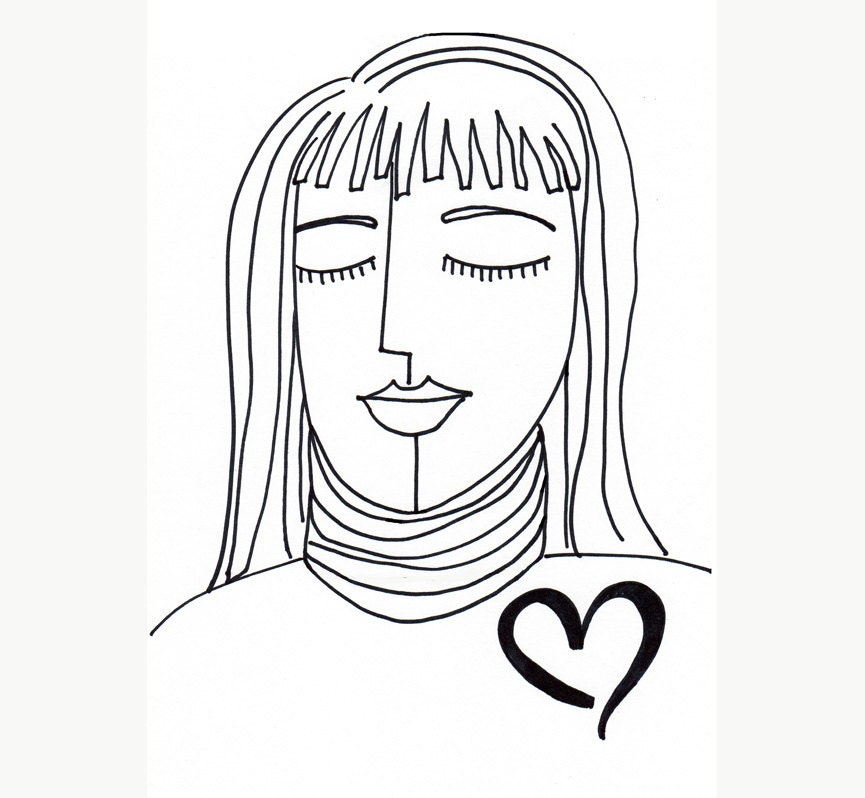 Line Art Love Heart : Heart line drawing