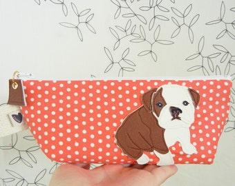 Boris the Bulldog Strawberry Pink Polka Dots Cotton Canvas Case with Vinyl Applique
