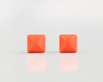 Neon Orange Geometric Pyramid Metal Stud Earrings. Surgical Steel Earrings Post. Gift for Her