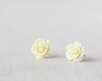 Ivory White Camellia Flower Earrings. Surgical Steel Earrings Post. Cream Rose Stud Earrings. Bridesmaid Earrings.