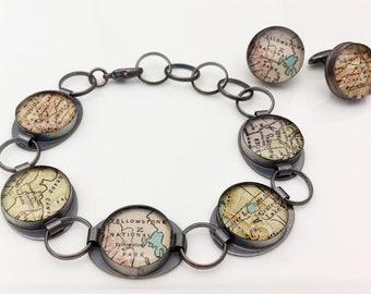 US National Parks - Vintage Map Oxidized Sterling Silver Bracelet - 100% Genuinely Handmade