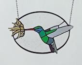 Unique Birder Gift - Stained Glass Broadbilled Hummingbird - Gift for Hummingbird Lover