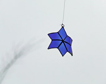 Cosmic Blue Star - Recycled Blue Glass Star - Gili's Whimsical Holiday Blue Star