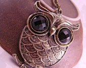 Brass Owl Necklace with Black Eyes on 28 Inch Chain