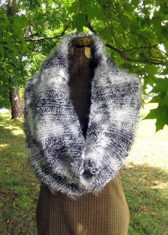 Ladies Cowl Capelet Black and White Knit Shawl or Scarf