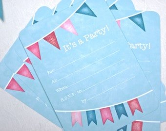 SALE  SUMMER BUNTING Write In Invitations, Set/8