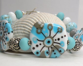 CLOUD ABSTRACT PALLETE Handmade Lampwork Bead Bracelet