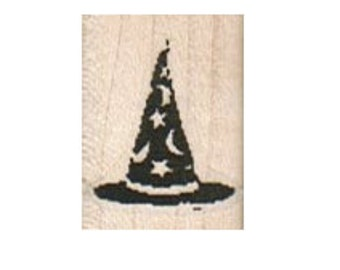 Rubber stamp Halloween Wizard hat witch   wood Mounted  scrapbooking supplies number 8268