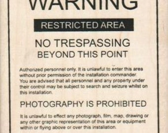 Alien Area 51 warning  rubber stamps   wood mounted 5528