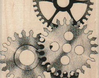 Steampunk supplies GEAR watch parts  stamp wood Mounted   rubber stamp    stamp number 18077