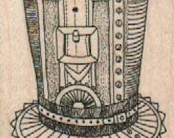 top hat Steampunk supplies  rubber stamp     wood mounted 18599