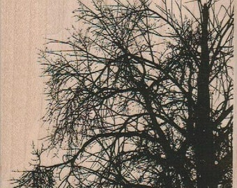 halloween stamping background  Rubber  Stamp Tree    stamp 18902 large branches winter Christmas